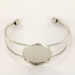 metalen armband met setting 25 mm - zilver