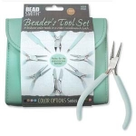 Beader's tool set  - with 8 pliers - aqua