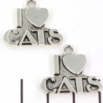 metal charm I love cats - silver