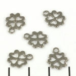 flat bead four leafed clover - stainless steel silver