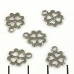 platte bedel klavertje vier - stainless steel zilver