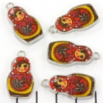 charm owl - red yellow