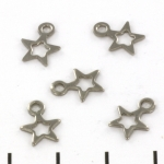 flat bead with open star - stainless steel silver