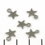 flat bead little star - stainless steel silver