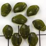 blad 9x14mm - groen olivine
