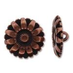flower button - antique copper