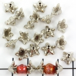 beadcap flower - silver 5 mm