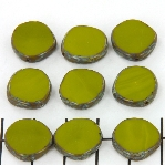 table cut disc - opaque avocado green picasso