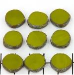 table cut disc - opaque avocado green picasso
