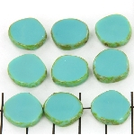 table cut disc - turquoise picasso