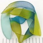 zijden lint - blauw groen