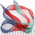 zijden lint - blauw groen rood
