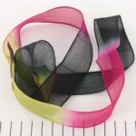 zijden lint - roze groen zwart