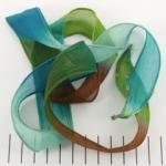 zijden lint - blauw bruin groen