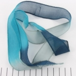 silk ribbon - aqua blue turquoise gray