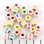 white numberbead with colored numbers - mix coloured