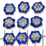 Cloisonné flower flat 2 - dark blue and turquoise