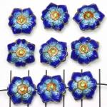 Cloisonné bloem plat 2 - donkerblauw en turquoise