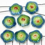 Cloisonné bloem plat 3 - turquoise en lichtgroen