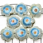Cloisonné flower flat 3 - white and turquoise