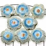 Cloisonné bloem plat 3 - wit en turquoise