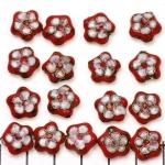 Cloisonné plat bloem - rood