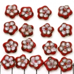 Cloisonné flat flower 2 - red