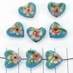 Cloisonné hart - turquoise