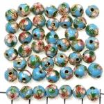 Cloisonné rond 8 mm - turquoise