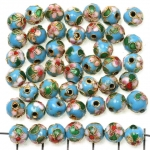 Cloisonné round 8 mm  - turquoise