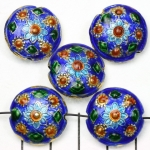 Cloisonné rond plat 21 mm - donkerblauw