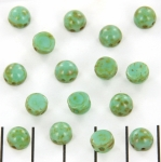 Cabochon two-hole 6mm - turquoise picasso