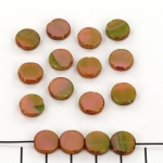 table cut disc 10 mm - pink coral / olivine - picasso