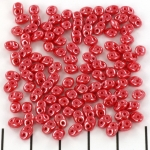superduo 2.5 x 5 mm - opaque coral red white luster