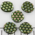 flat round with circles 21 mm - green