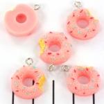 donut 16 mm - roze met spikkels