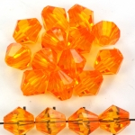 acrylic faceted conical 10 mm - orange