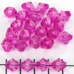 acrylic faceted conical 10 mm - fuchsia lila