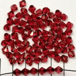 acrylic faceted conical 6 mm - ruby red dark pink
