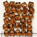 acrylic faceted cube - brown