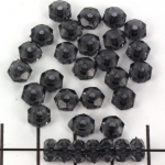 acrylic faceted flat round - transparant black