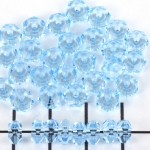 acrylic faceted flat round - light blue