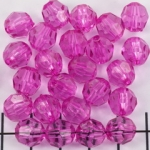 acrylic faceted round - fuchsia pink