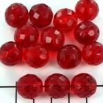 Tsjechisch facet rond 14 mm - donker rood