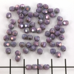 Czech faceted round 4 mm - metallic amethyst chalk