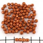 Tsjechisch facet rond 4 mm - saturated metallic russet orange