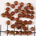 Czech faceted round 6 mm - gold brown