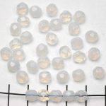 Czech faceted round 6 mm - opal white