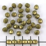 Czech faceted round 6 mm - saturated metallic golden lime