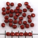 Czech faceted round 6 mm - saturated metallic cherry tomato